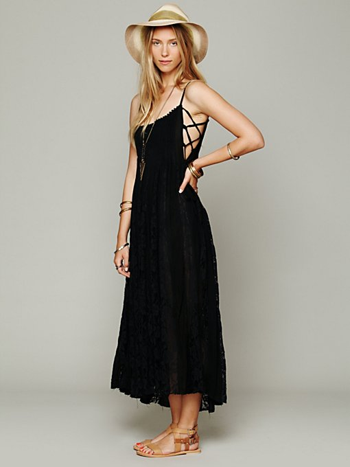 Free People FP ONE Victorian Lace Dress in black-maxi-dresses