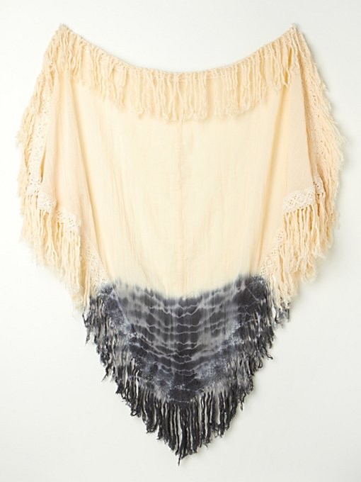 Jen's Pirate Booty Ombre Fringe Triangle Shawl in ponchos