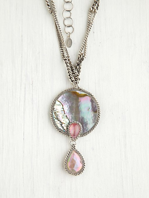 Annie Hammer  Abalone Disc Pendant in bib-necklaces