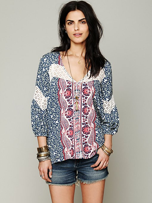 Free People Printed Bubble Sleeve Top in blouses-2