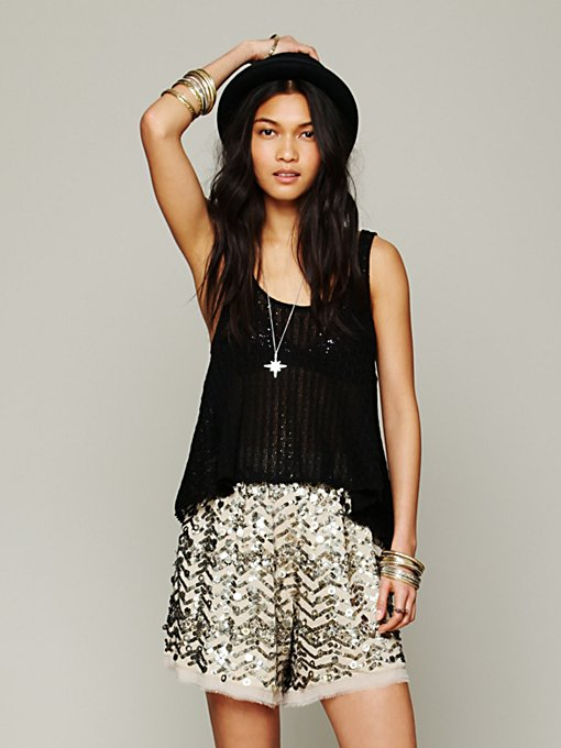 Metal Shimmer Short in clothes-shorts-novelty