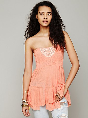 Free People Smock Bodice Babydoll Top