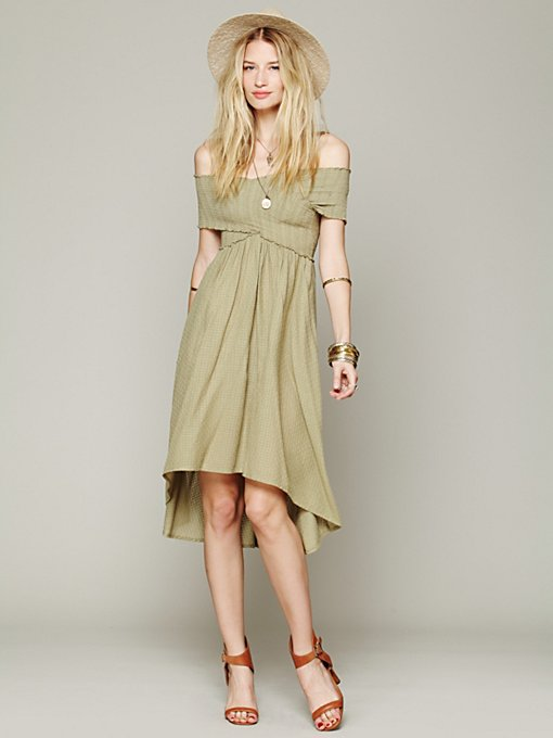 Free People Smocked Hi-Low Dress in Dresses