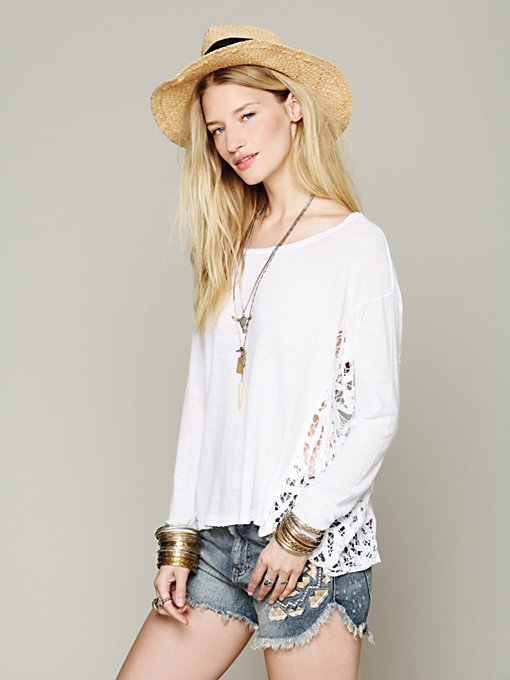 Free People Boxy Pieced Lace Pullover in Sweaters