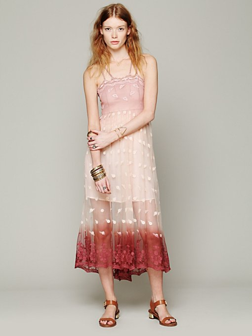 Free People Tralala Embroidered Mesh Maxi in Dresses