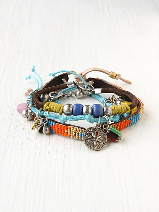 Charm and Bead Bracelet Set in beach-jewelry