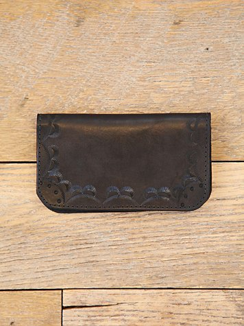 Vintage Etched Leather Duo Fold Wallet