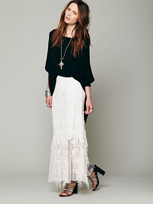 Festival Battenburg Lace Skirt in maxi-midi