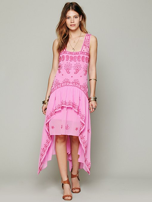 Free People FP New Romantics Cassiopeia Embroidered Dress in Chiffon-Dresses