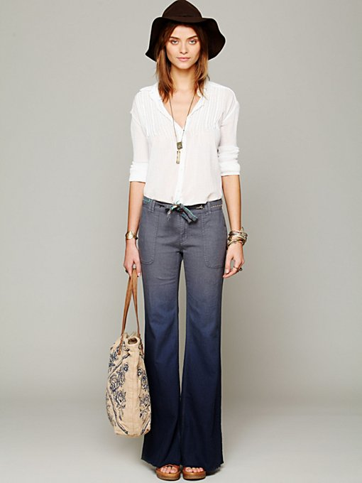 Ombre Linen Wideleg Pants in sale-new-sale
