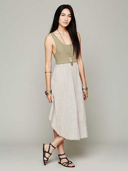 Free People FP X Dragonfly 2fer Dress in Beach-Dresses