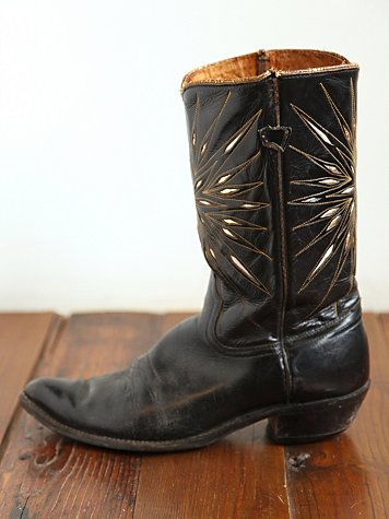Vintage Black Cowboy Boots with Metallic