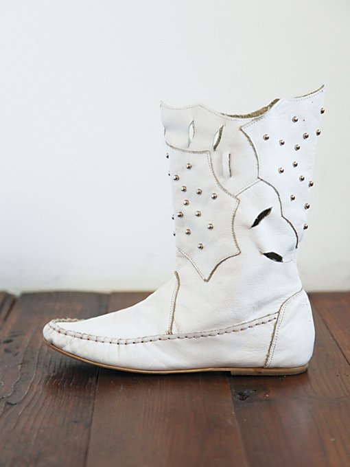 Free People Vintage White Leather Laser Cut Boots in vintage-shoes