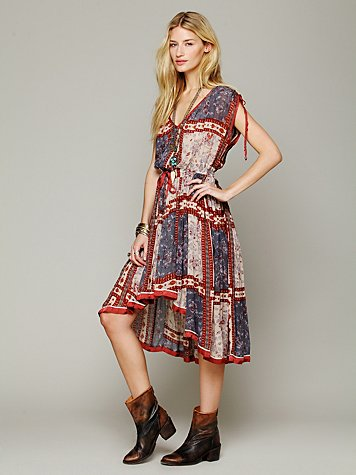 Free People  Quilted Rose Print Dress at Free People Clothing Boutique