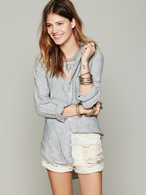 CP Shades Stripe Button Down Tunic in tops