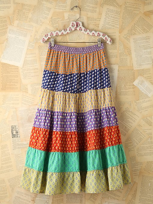 Free People Vintage Colorful Printed Tiered Skirt in vintage-skirts