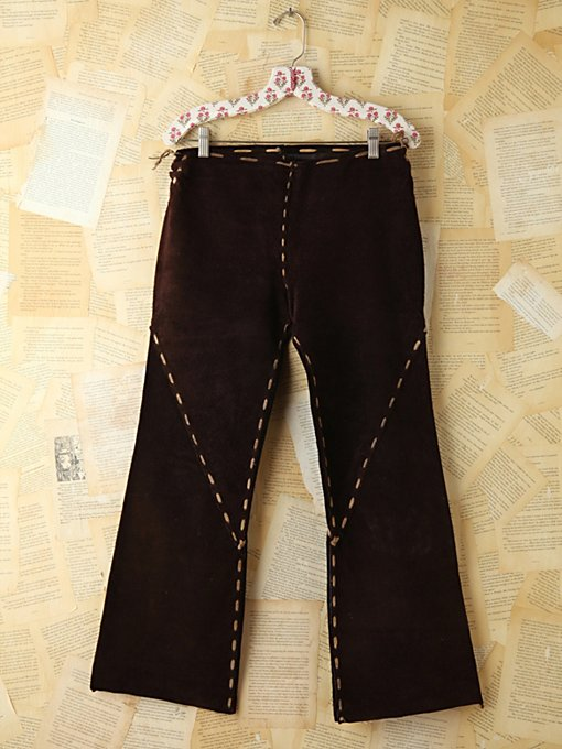 Free People Vintage Brown Suede Flare Pants in vintage-skirts