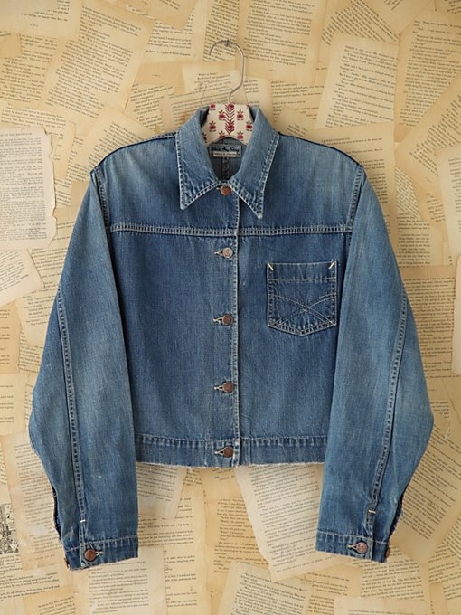 Free People Vintage Blue Denim Jacket in vintage-jeans