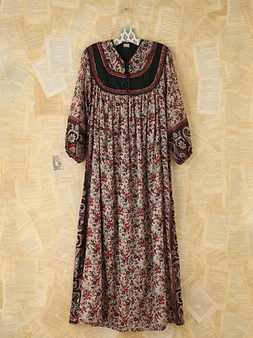 Free People Vintage Metallic Floral Printed Dress in Vintage-Dresses