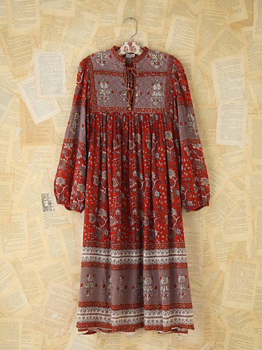 Free People Vintage Printed Indian Dress  in Vintage-Dresses