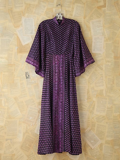 Free People Vintage Silk Patterned Indian Dress in Vintage-Dresses