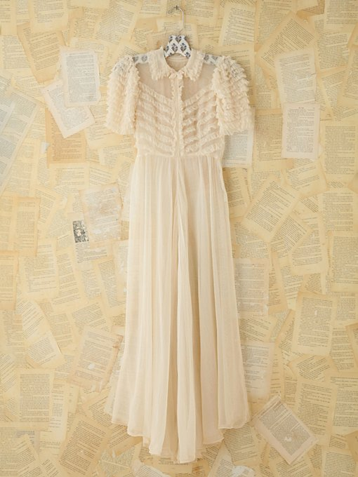 Free People Vintage Sheer Ruffled Maxi Dress in Vintage-Dresses