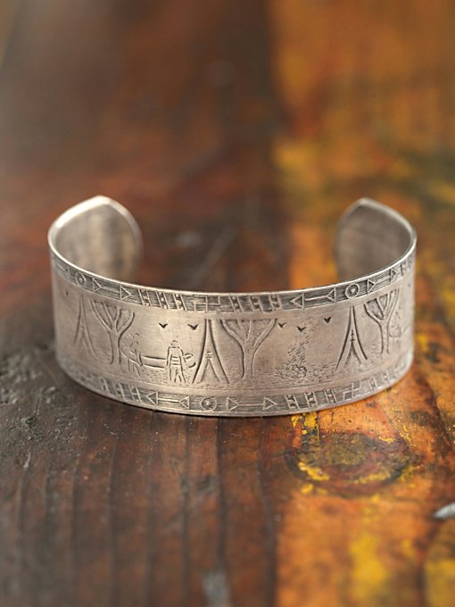 Free People Vintage Textured Silver Cuff in Vintage-Jewelry