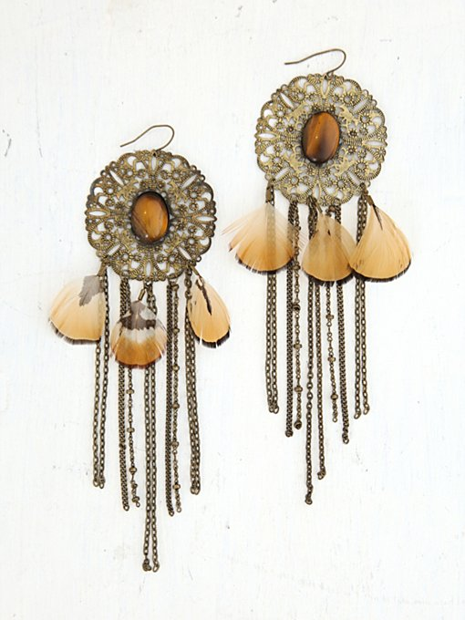 Free People Vintage Metal Fringe and Feather Earrings in Vintage-Jewelry