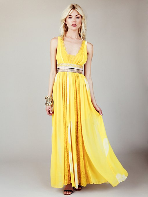 Free People FP New Romantics Yellow Tie Dye Maxi in Chiffon-Dresses