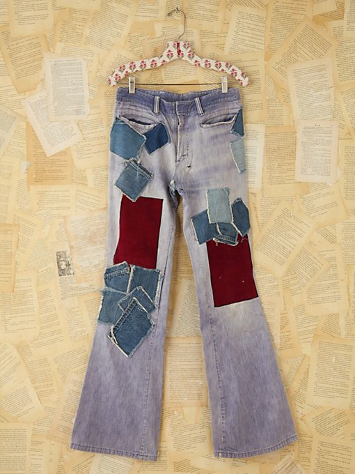 Free People Vintage Patched Denim Flares in vintage-jeans