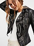 Vegan Leather Hooded Moto Jacket