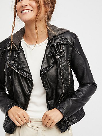 Vegan Leather Hooded Motorcycle Jacket