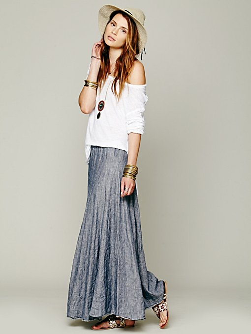 Worker Stripe Chambray Maxi in maxi-midi