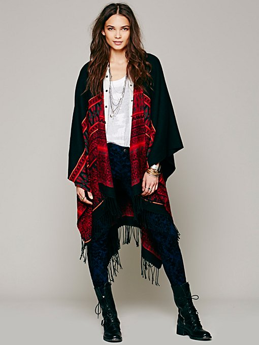 Free People Border Tapestry Poncho in Coats