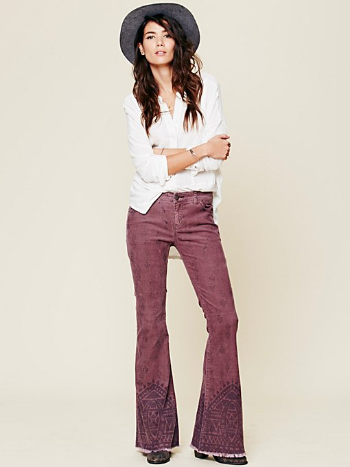 Free People Alexandria Printed Cord Flare