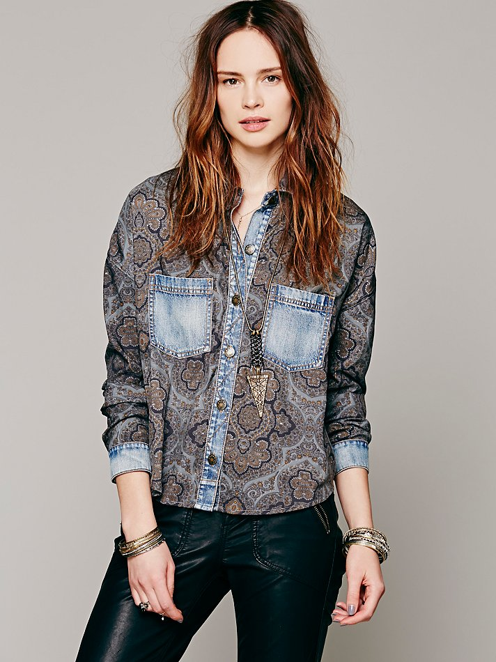 Center Front Paisley Buttondown at Free People