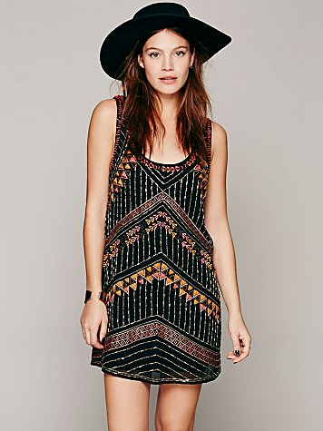 Free People Tribal Arrows Embellished Shift at Free People Clothing Boutique