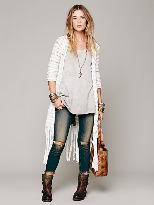 Free People Long Fringe Cardigan