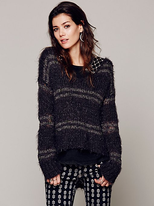 Free People Cozy In Stripes Pullover